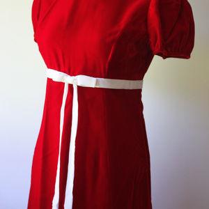 Handmade Dresses - Red Short Sleeve Long dress with White Ribbon